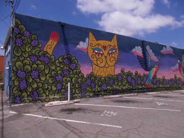 Lilac Cat on the Hunt, by artist Sarah Spinks and friends.