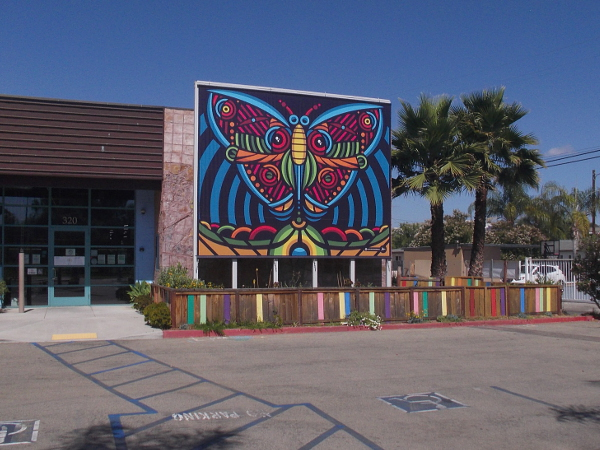 A beautiful, very colorful abstract butterfly mural near the entrance to the San Diego Children's Discovery Museum.