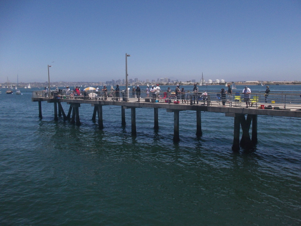 The pier is filled almost end to end with people.