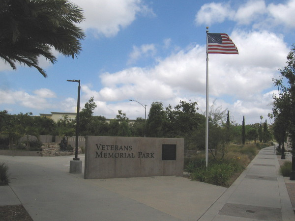 Flag flies above Veterans Memorial Park in Vista, California.
