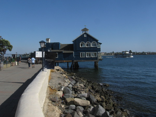 The Pier Cafe at Seaport Village has been painted dark blue!