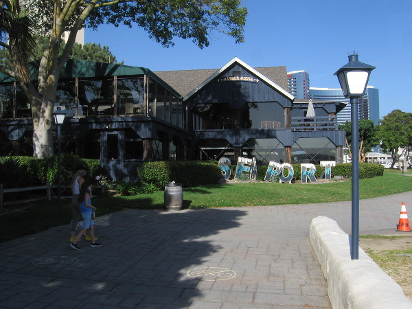 And so has the Harbor House restaurant! Seaport Village must have a new blue color scheme.