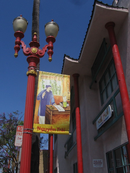 Banners, lamp posts and architecture reflect Vietnamese culture in San Diego's Little Saigon.