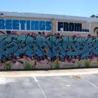 A graffiti-style Greetings From Serra Mesa!