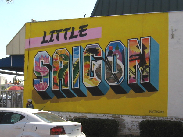 The oft-photographed Little Saigon mural, near the corner of El Cajon Boulevard and Menlo Avenue, created by @GreetingsTour.