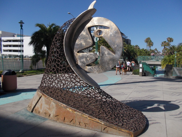 The Last Wave of the Day, 2004, by artist Steven L. Rieman. A sculpture in Oceanside, California, two blocks from the beach and pier.