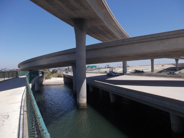 View of Interstate 5 over the Sweetwater River from the Gordy Shields Bayshore Bikeway Bridge.