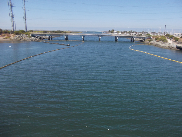 Looking west down the Sweetwater River channel toward San Diego Bay. That's Pier 32 Marina on the right.