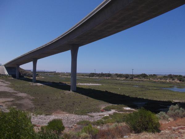 Freeway ramp swings south over part of San Diego Bay National Wildlife Refuge.
