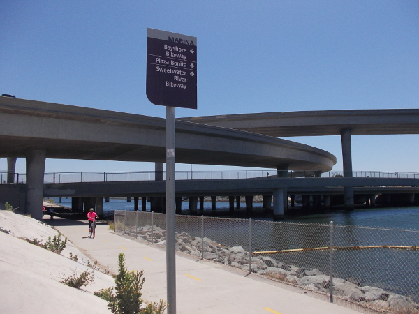 Sign at intersection of Bayshore Bikeway and Sweetwater River Bikeway.