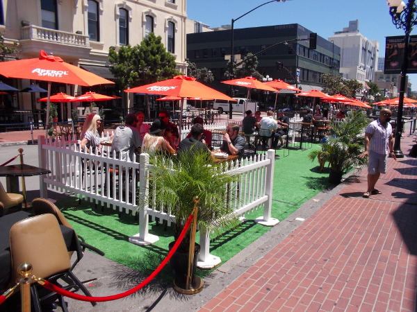 Restaurants in the Gaslamp have set up outdoor patios right into Fifth Avenue.