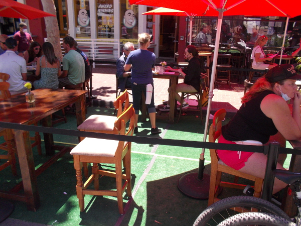 Outdoor tables throughout the Gaslamp were filling up this Saturday mid-afternoon.