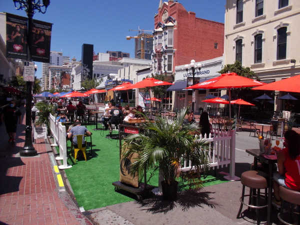 Diners enjoy the unique outdoor ambiance of the historic heart of San Diego!