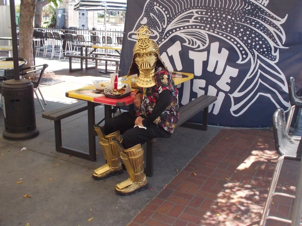 Dude Vader was eating lunch at the Tin Fish when I happened by Thursday afternoon!