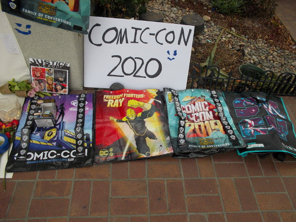 Thursday morning some more swag bags had been added to the Comic-Con 2020 shrine.