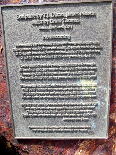 Plaque at base of the Silver Gate Yacht Club sculpture includes the poem Homecoming by John Alger.