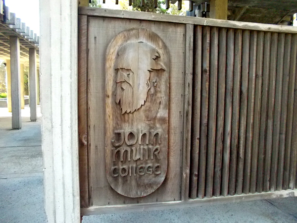 Carved likeness of a famous naturalist at UC San Diego's John Muir College. The college motto is Celebrating the Independent Spirit.