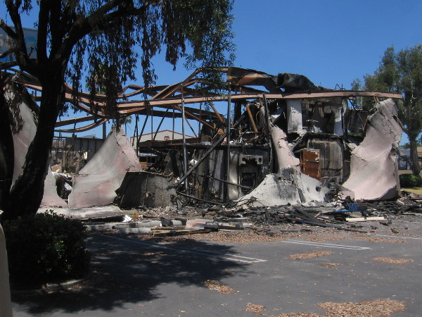 The result of arson during a riot in La Mesa, California.