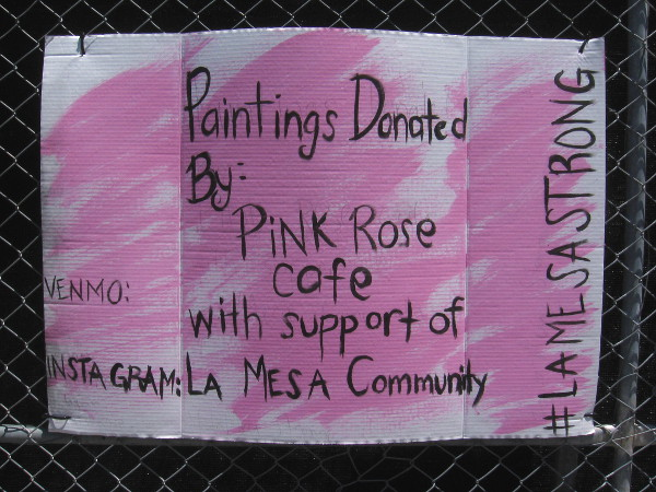 Paintings donated by Pink Rose Cafe with support of the La Mesa community.