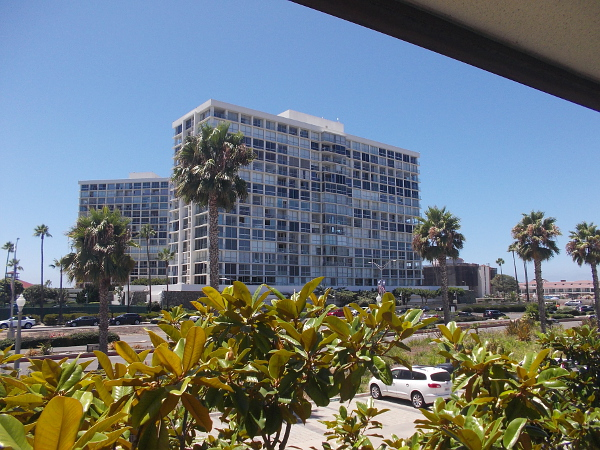 Two of the Coronado Shores towers to the east. Just beyond, unseen, lies the Pacific Ocean.