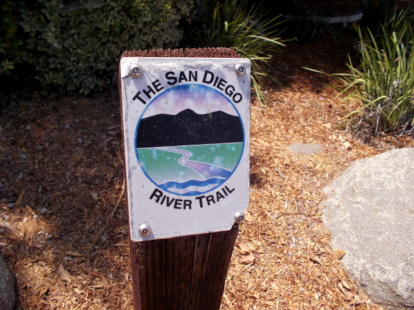 Marker beside the San Diego River Trail in Santee.