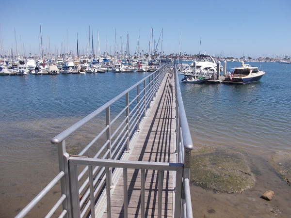 Looking out at boats in the La Playa Anchorage near the San Diego Yacht Club.