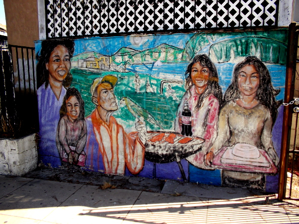 Colorful artwork in San Ysidro by renowned muralist Victor Ochoa depicts the artist's family.