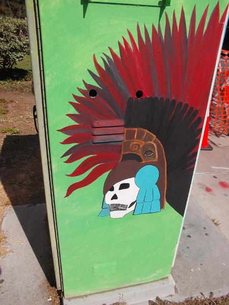 Aztec skull imagery.