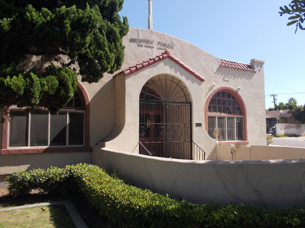The graceful, welcoming front of the first San Ysidro Library.