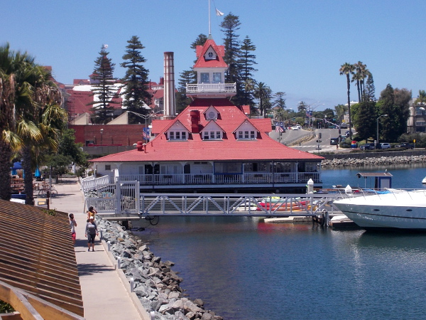 And you can also see the Hotel Del's historic Victorian boathouse.