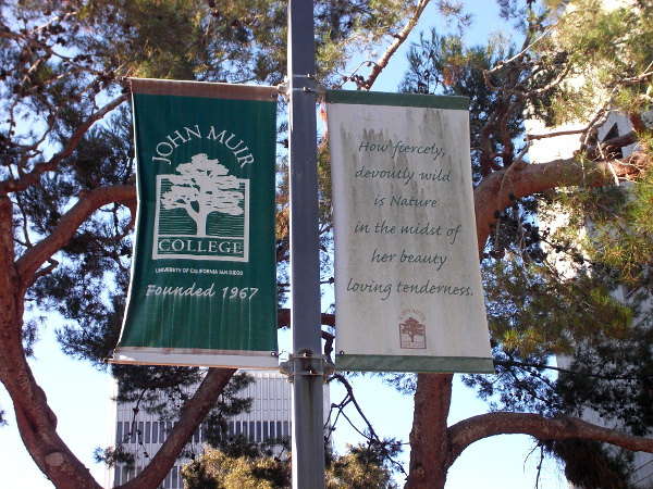 A John Muir quote on a banner. How fiercely, devoutly wild is Nature in the midst of her beauty-loving tenderness.