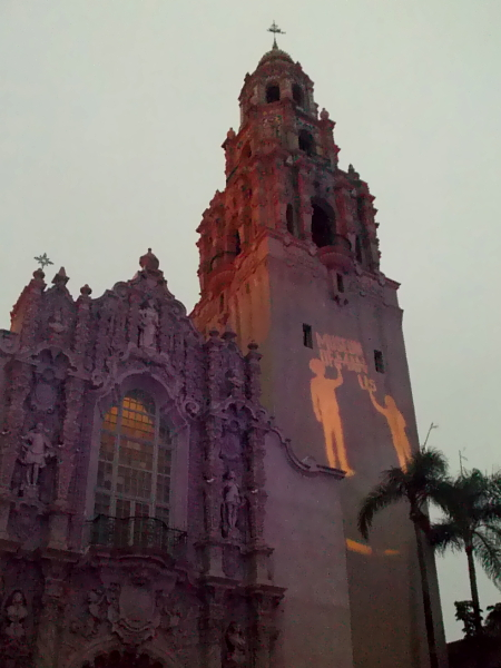The California Tower in Balboa Park is lit purple and gold to celebrate the 100th anniversary of the 19th Amendment, giving women the right to vote.