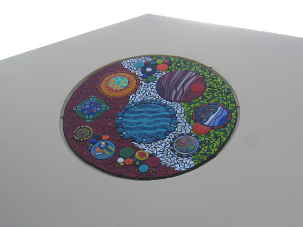 Abstract mosaic near roof seems to depict bodies in our solar system.
