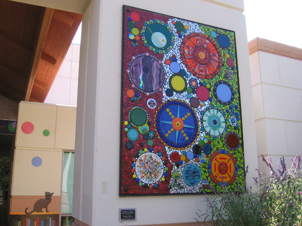 The third mosaic glass mural. Abstract design shows how every element in the universe is interconnected.
