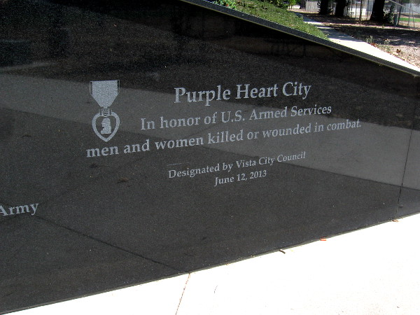 Purple Heart City. In honor of U.S. Armed Services men and women killed or wounded in combat.