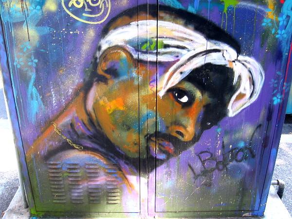 Cool street art face on F Street in San Diego's East Village neighborhood.