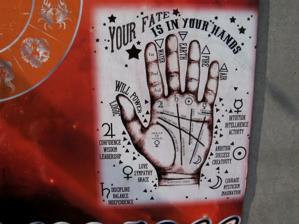 Your Fate is in Your Hands. Palmistry is illustrated at East Village Psychic Healing Center.