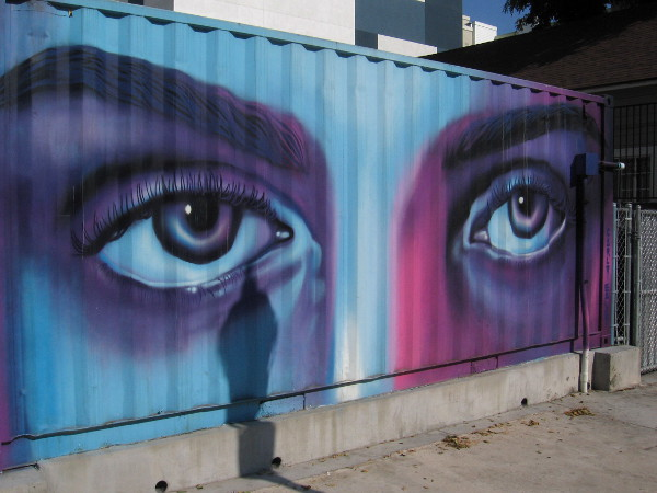 Eyes on a container outside Quartyard painted by Carly Ealey.