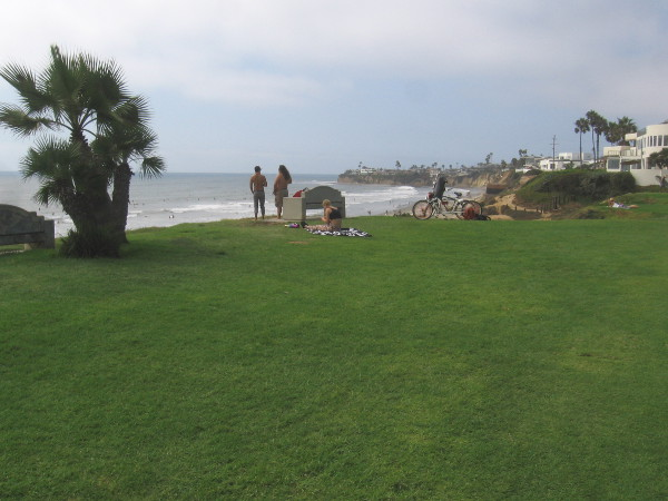 Looking north toward La Jolla across the grassy park at Law Street.
