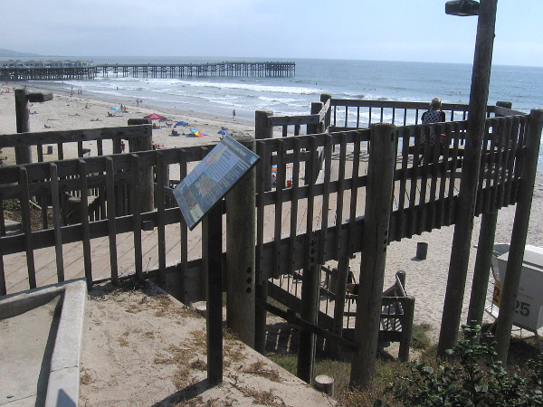 Wooden stairs down to the beach.