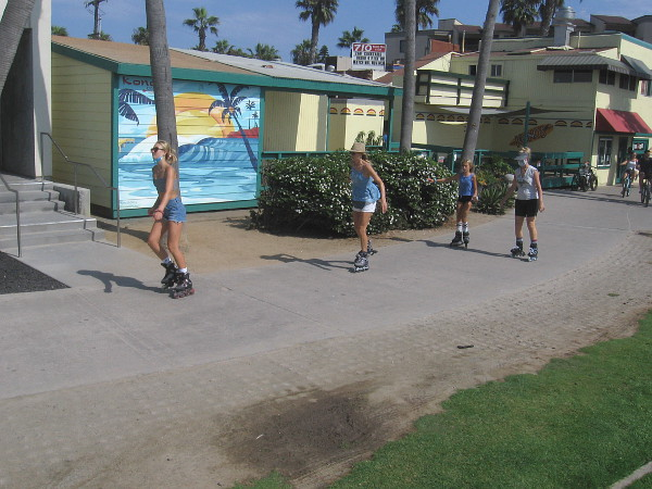 Here come some inline skaters.