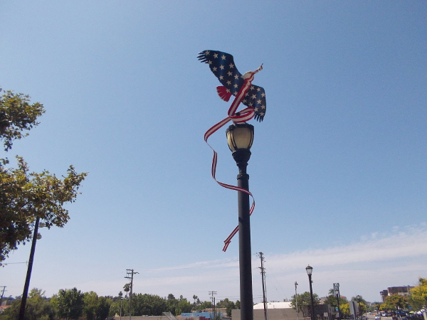 Sculpture of a patriotic red, white and blue bald eagle high atop a lamp post at Rotary Lane.