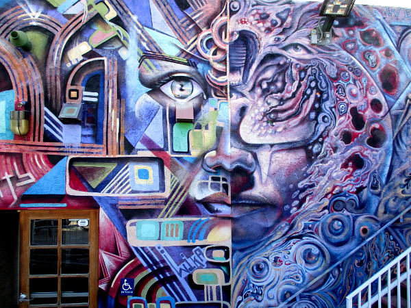 An astonishing abstract face painted on the rear of The FRONT art gallery in San Ysidro!