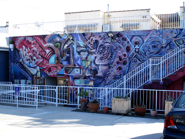 This extraordinary mural, created in 2013, can be found behind The FRONT art gallery, beside a parking area. The left side was painted by Isaias Crow, the right side by Werc Alvarez.