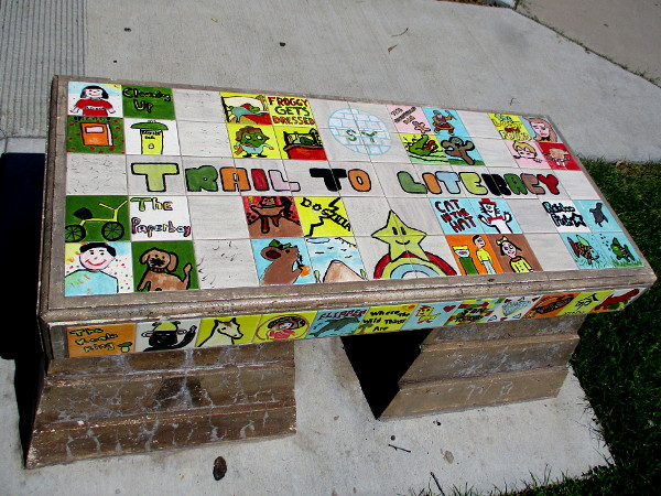 One of two Trail to Literacy benches in San Ysidro Park.