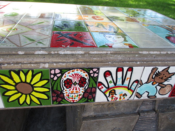 More colorful, imaginative tiles painted by youth.