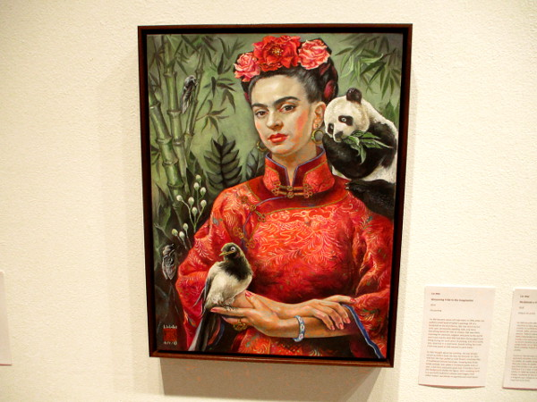 Welcoming Frida to My Imagination, by artist Lin Wei, 2018. Oil painting.