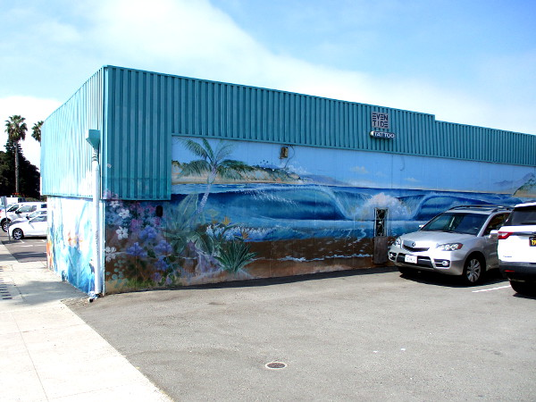 More of the beautiful beach mural, on the building's east wall.