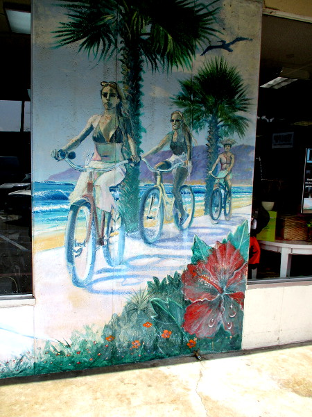 Bicyclists on mural at strip mall on Aberdeen Drive in downtown Cardiff-by-the-Sea.