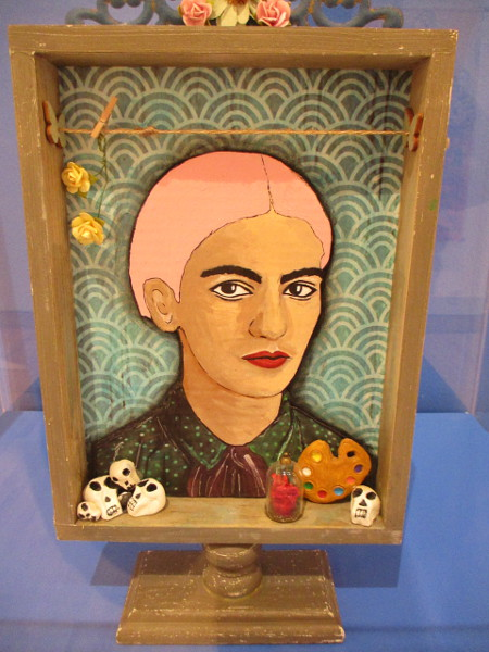 Frida Kahlo Shrine Box Day of the Dead, by artist Monica Balmelli, 2016. Mixed media.